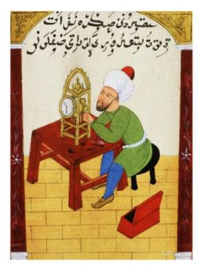 scholar-studying-the-workings-of-a-clock-ottoman-manuscript-17th-century